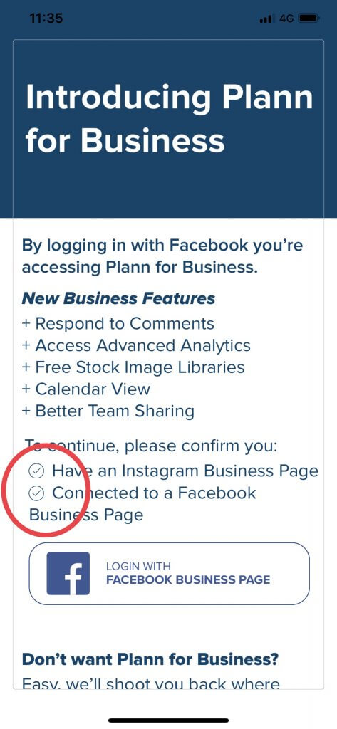 Confirm that you have an Instagram Business Account, linked to a Facebook Business Page